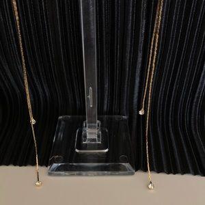 Vintage Jewelry - Simple jewel longline earring in gold